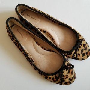 lands' end leopard calf hair flats size 6